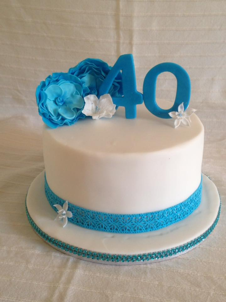 40 Year Old Kerrys Blue And White Cake