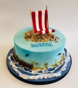 Mum's 60th beach scene cake